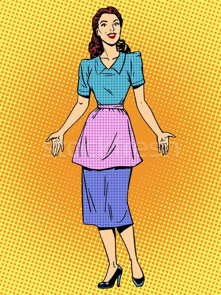 Barátságos háziasszony gyönyörű nő retró stílus pop art fiatal lány Stock fotó © studiostoks