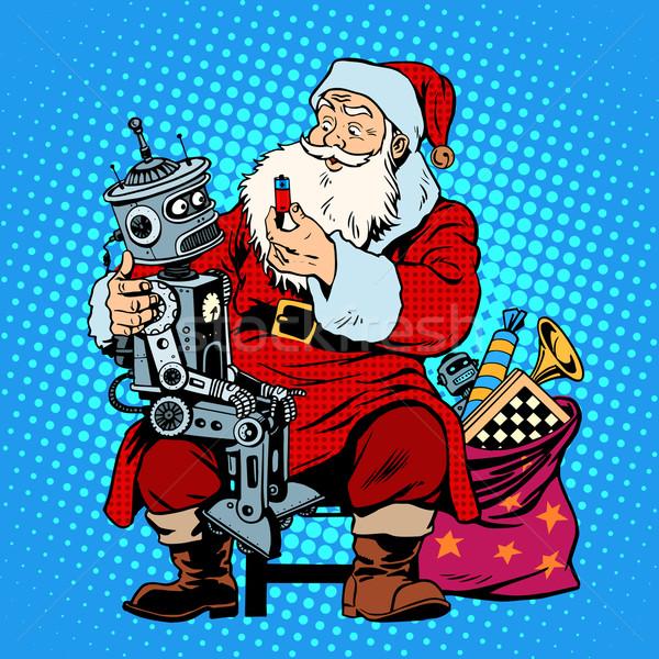 Дед Мороз подарок робота батареи Рождества торговых Сток-фото © studiostoks