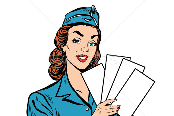 Girl retro stewardess with white forms brochure ticket Stock photo © studiostoks