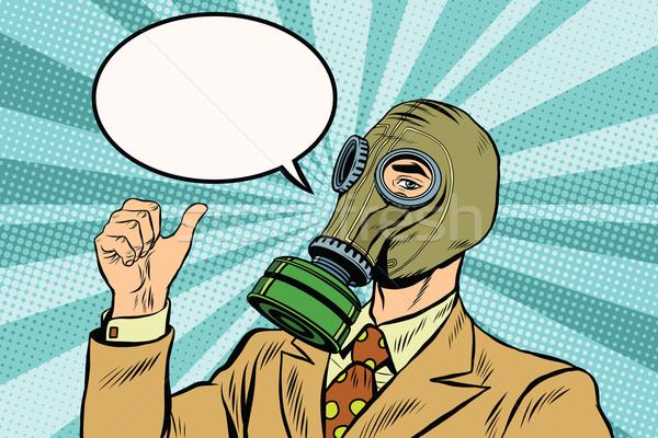 Gaz maskesi adam başparmak yukarı pop art Retro Stok fotoğraf © studiostoks