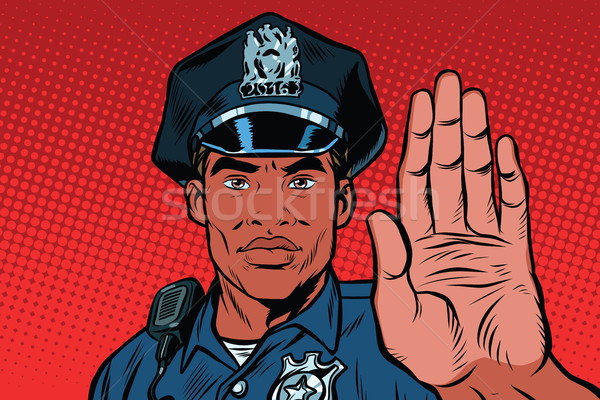 Retro police officer stop gesture Stock photo © studiostoks