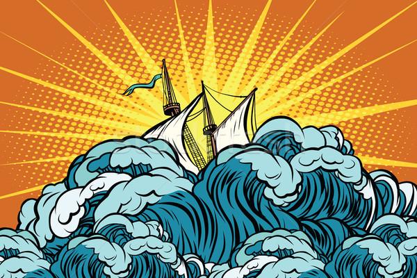 Retro zeilschip stormachtig golven zee oceaan Stockfoto © studiostoks