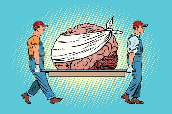 Tener cerebro reparación trabajadores arte pop Foto stock © studiostoks