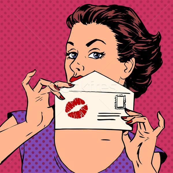 Fille enveloppe lettre baiser rouge à lèvres pop art Photo stock © studiostoks