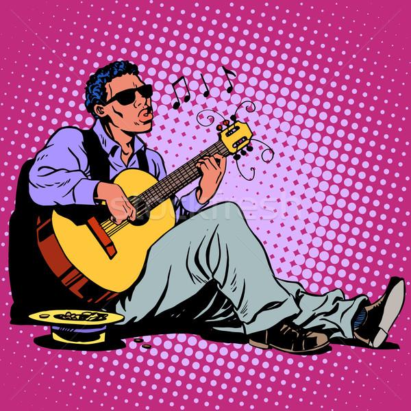 通り ブルース ミュージシャン アフリカ ギター ストックフォト © studiostoks