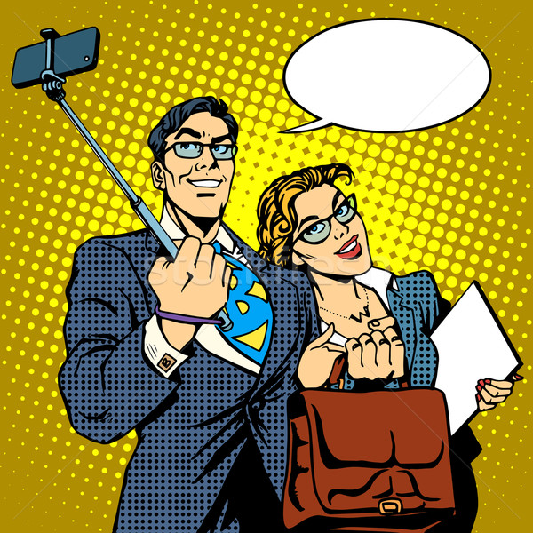 Selfie stick businessman and businesswoman photo smartphone Stock photo © studiostoks