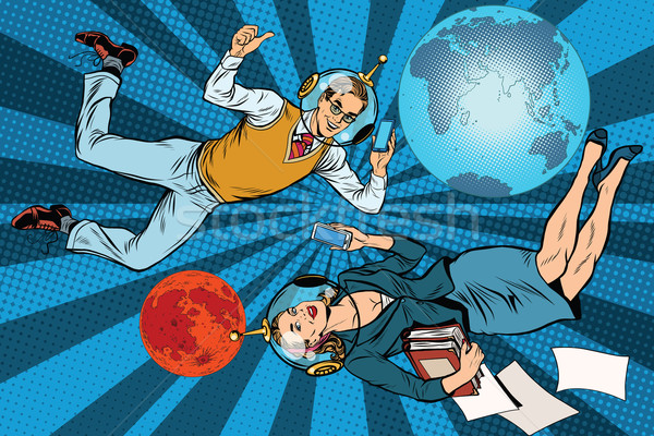 Businessman and businesswoman astronauts Stock photo © studiostoks