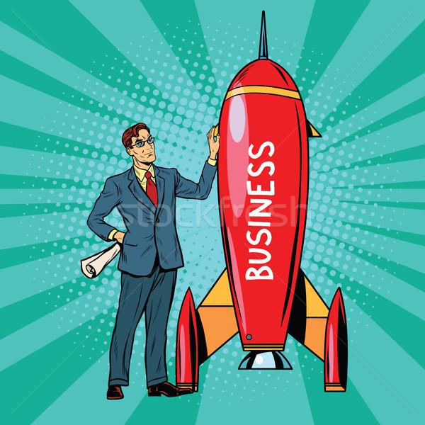 üzlet kezdet felfelé rakéta pop art retro Stock fotó © studiostoks