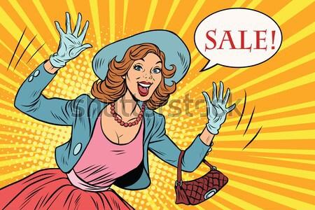 женщину продажи Поп-арт ретро бизнеса деньги Сток-фото © studiostoks