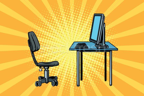 компьютер рабочая станция Председатель Поп-арт ретро бизнеса Сток-фото © studiostoks