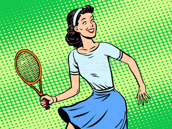 Young woman playing tennis retro style pop art Stock photo © studiostoks