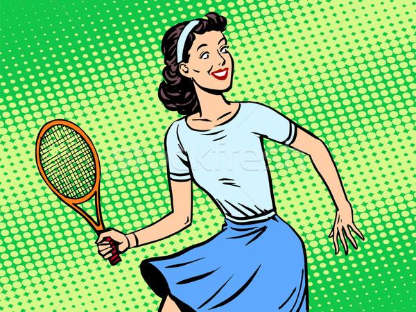 Genç kadın oynama tenis retro tarzı pop art spor Stok fotoğraf © studiostoks
