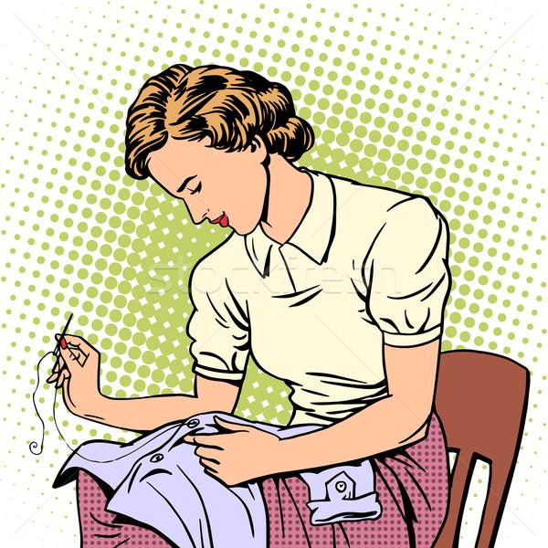 Nő póló fonál háziasszony házimunka kényelem Stock fotó © studiostoks