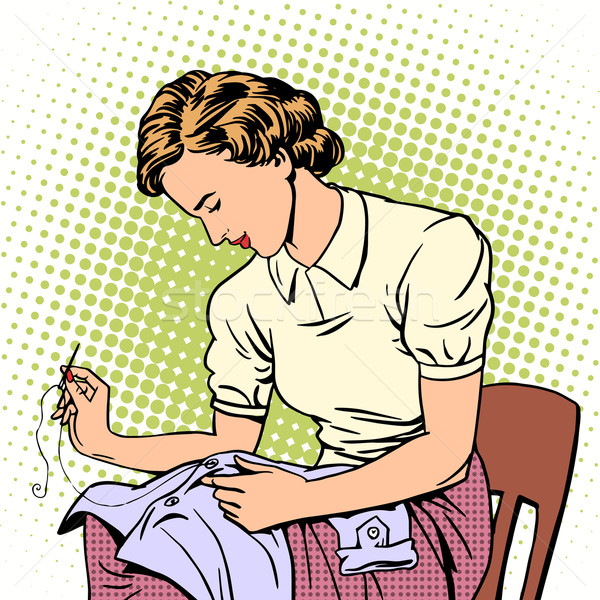woman sews shirt thread housewife housework comfort Stock photo © studiostoks