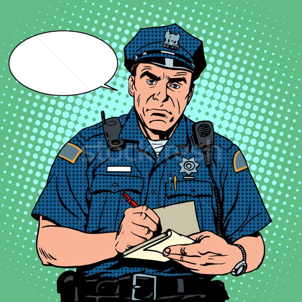 Mérges rendőr kérdések pop art retró stílus férfi Stock fotó © studiostoks