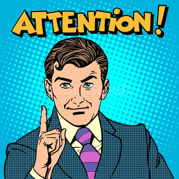 Figyelem üzletember mutat ujj pop art retró stílus Stock fotó © studiostoks