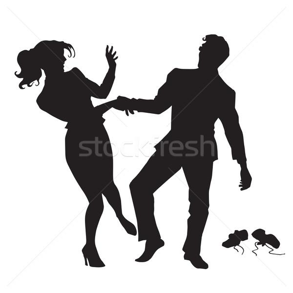 Сток-фото: бизнесмен · деловая · женщина · танцы · черный · силуэта · Рисунок