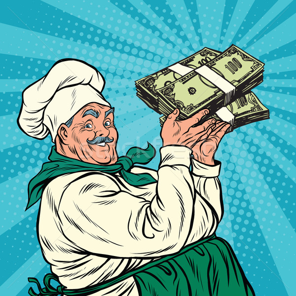 Retro chef geld pop art business werk Stockfoto © studiostoks