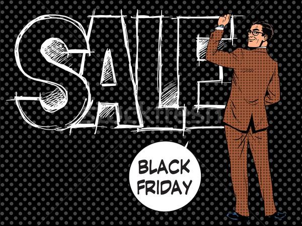 черная пятница бизнесмен продажи Поп-арт ретро-стиле человека Сток-фото © studiostoks