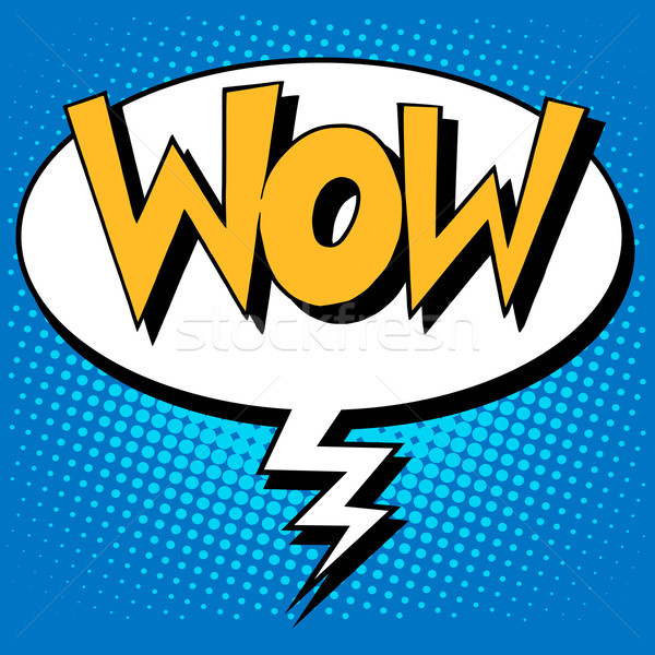 Wow Faktor Inschrift Comic Stil Pop-Art Stock foto © studiostoks