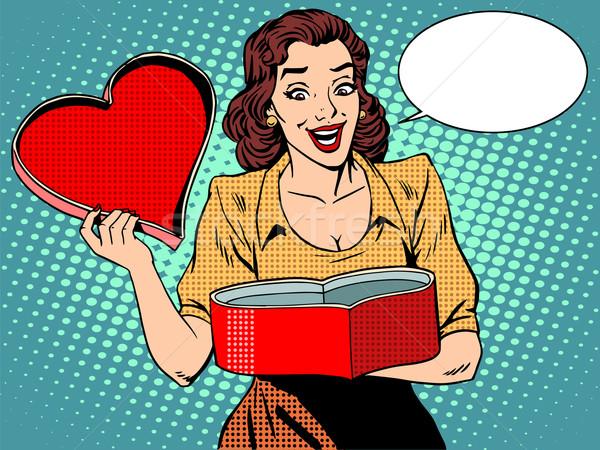 Romántica regalo amor corazón femenino placer Foto stock © studiostoks