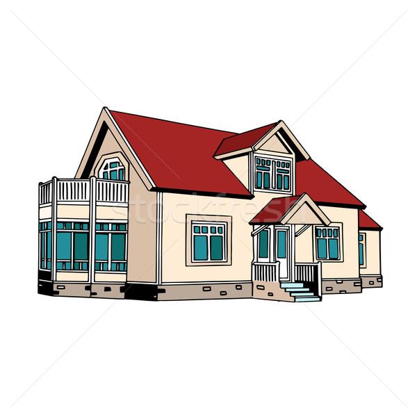 пригородный дома Поп-арт ретро-стиле недвижимости продажи Сток-фото © studiostoks