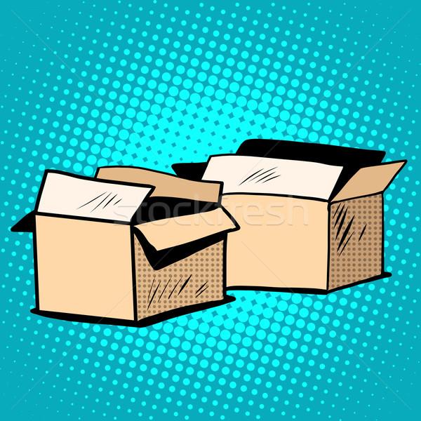 Imballaggio scatole cartone retro pop art stile retrò Foto d'archivio © studiostoks