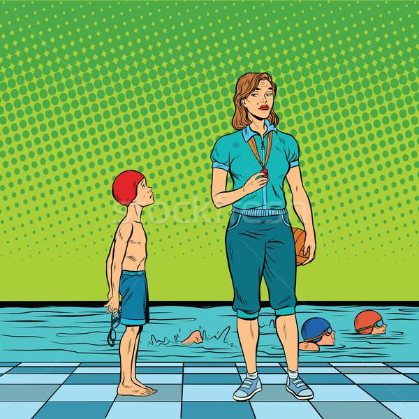 Female swimming coach disgruntled student Stock photo © studiostoks