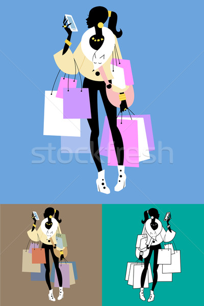 Fashionista Shopaholic calls Stock photo © studiostoks