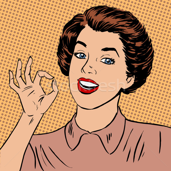 Woman showing okay gesture well the quality is perfectly fine st Stock photo © studiostoks
