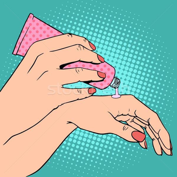Hand cream cosmetics skin care Stock photo © studiostoks