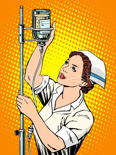 Nővér gyógyszer cseppentő pop art retró stílus orvos Stock fotó © studiostoks
