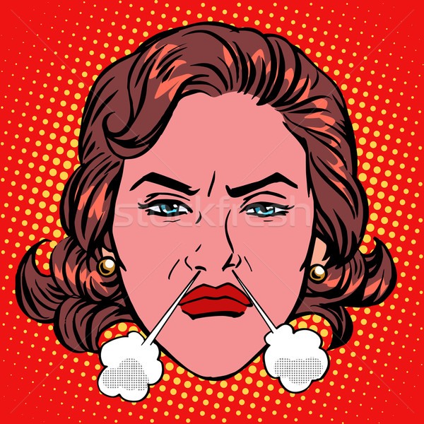 Retro Emoji rage anger boiling woman face Stock photo © studiostoks