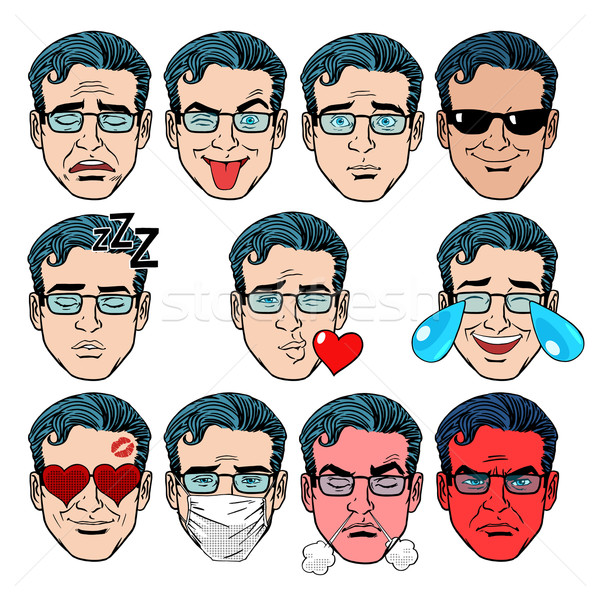 Set Emoji emotions men Stock photo © studiostoks