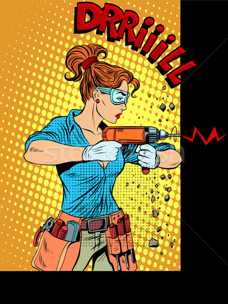 Woman drilling wall drill Stock photo © studiostoks