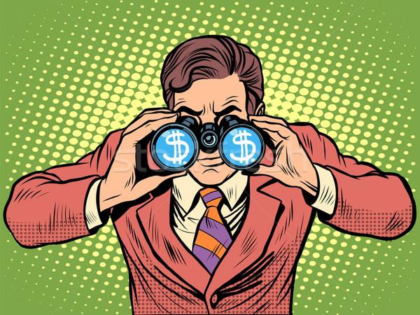 Financeiro moeda dólar empresário binóculo Foto stock © studiostoks
