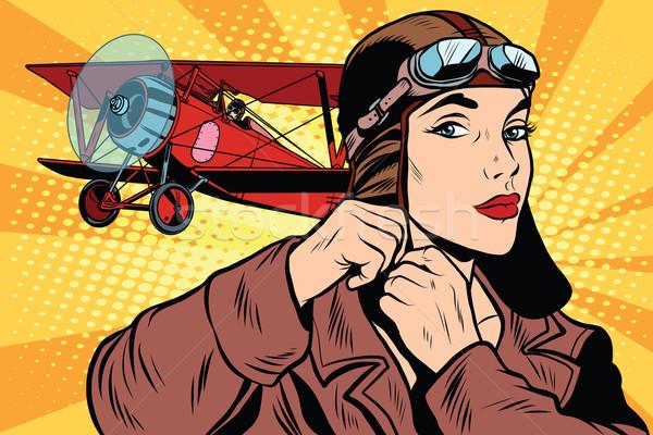 Girl retro military pilot Stock photo © studiostoks