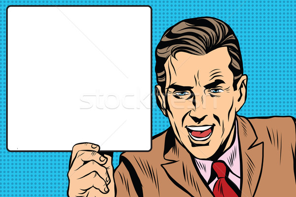 Stock photo: Retro man with a poster pop art