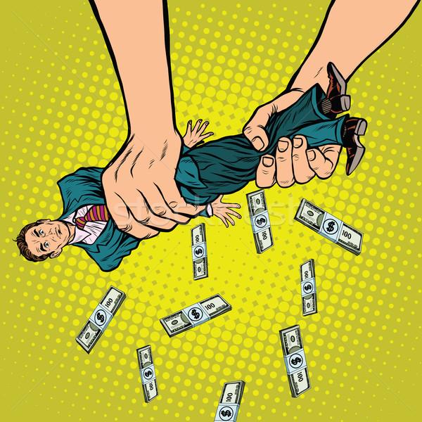 Female hands squeeze men money Stock photo © studiostoks