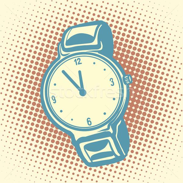 Armbanduhr Retro alten Illustration Pop-Art Vektor Stock foto © studiostoks