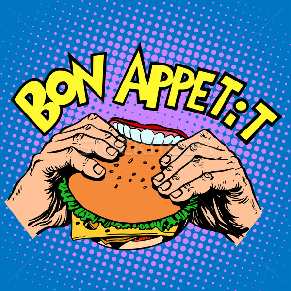 Bon appetit Burger sandwich is delicious fast food Stock photo © studiostoks