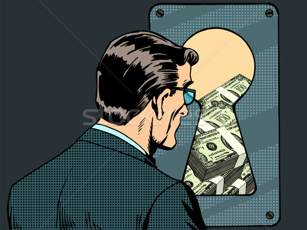 Financial security man money keyhole Stock photo © studiostoks