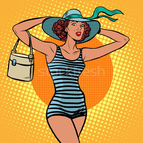 Lány retro pop art retró stílus tengerparti nyaralás utazás Stock fotó © studiostoks