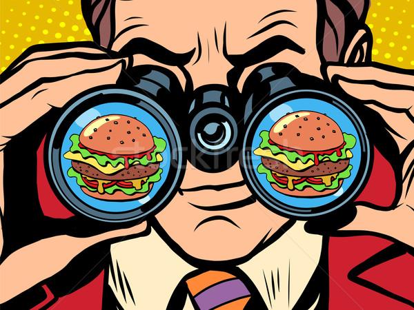 éhes férfi hamburger pop art retró stílus éhség Stock fotó © studiostoks