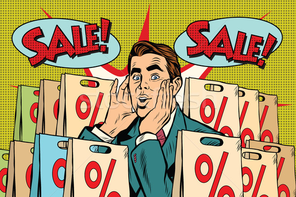 Pop art man buyer percent off sale Stock photo © studiostoks