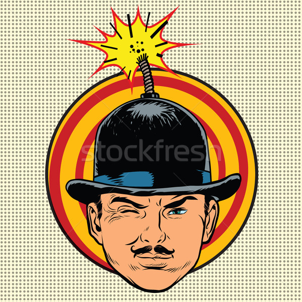 Spy terrorist in the hat bomb wick Stock photo © studiostoks