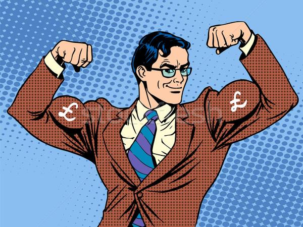 ビジネスマン 筋肉 通貨 ポンド ポップアート レトロスタイル ストックフォト © studiostoks
