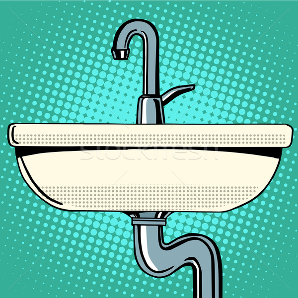 раковина стиральные водопроводный кран воды Поп-арт ретро-стиле Сток-фото © studiostoks