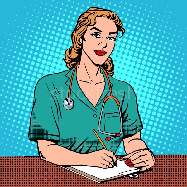 Gyakornok elöl asztal kórház pop art retró stílus Stock fotó © studiostoks