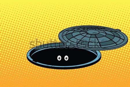 Fekete retro kettlebell sportfelszerelés pop art retró stílus Stock fotó © studiostoks